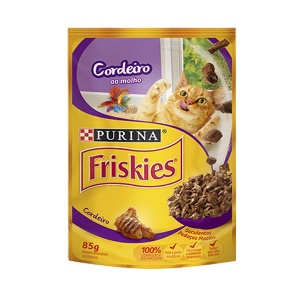 Ração Friskies Alimento Úmido para Gatos Adultos Cordeiro ao Molho Purina 85g