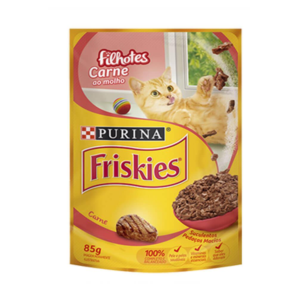 Ração Friskies Alimento Úmido para Gatos Filhotes Carne ao molho Purina 85g