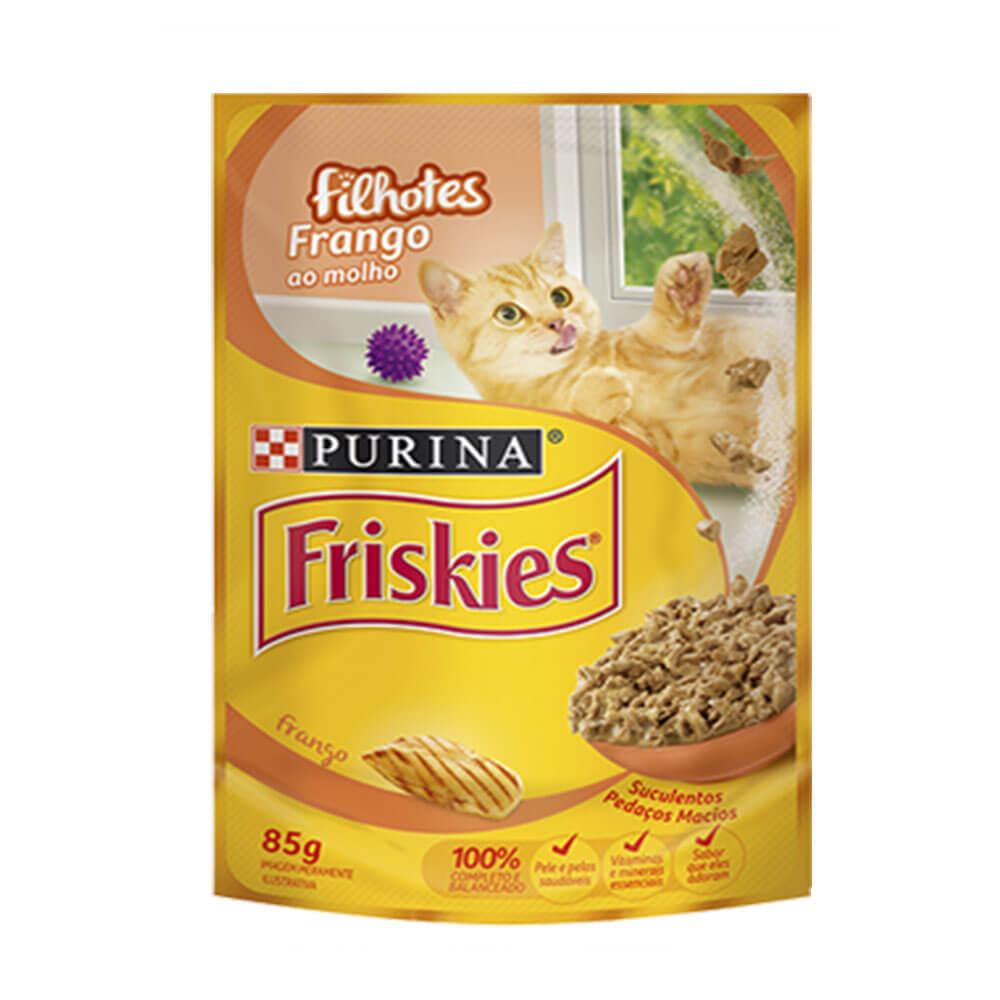 Ração Friskies Alimento Úmido para Gatos Filhotes Frango ao Molho Purina 85g