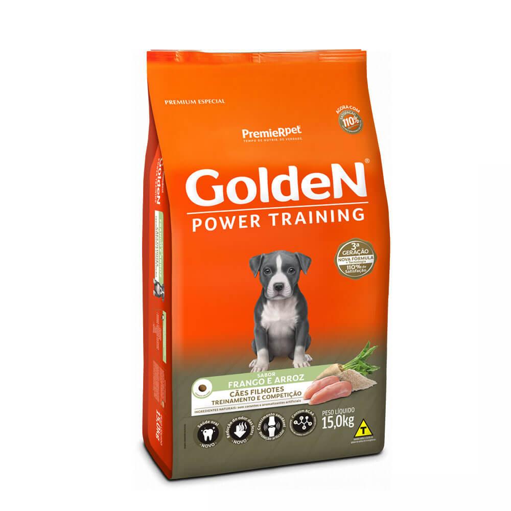 Ração Golden Formula Power Training Cães Filhotes Sabor Frango e Arroz 15kg