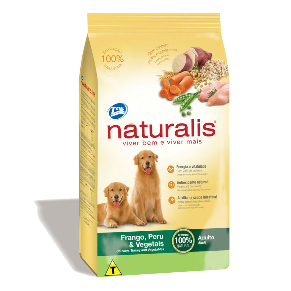 Ração Naturalis Cães Adulto Frango, Peru e Vegetais 15 kg