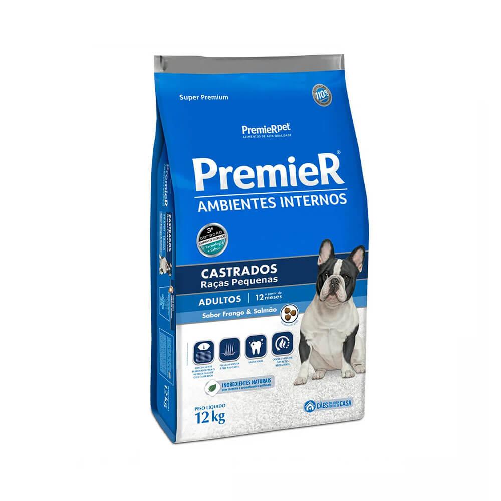 Ração Premier Ambientes Internos Cães Adultos Castrados Raças Pequenas Frango e Salmão 12kg