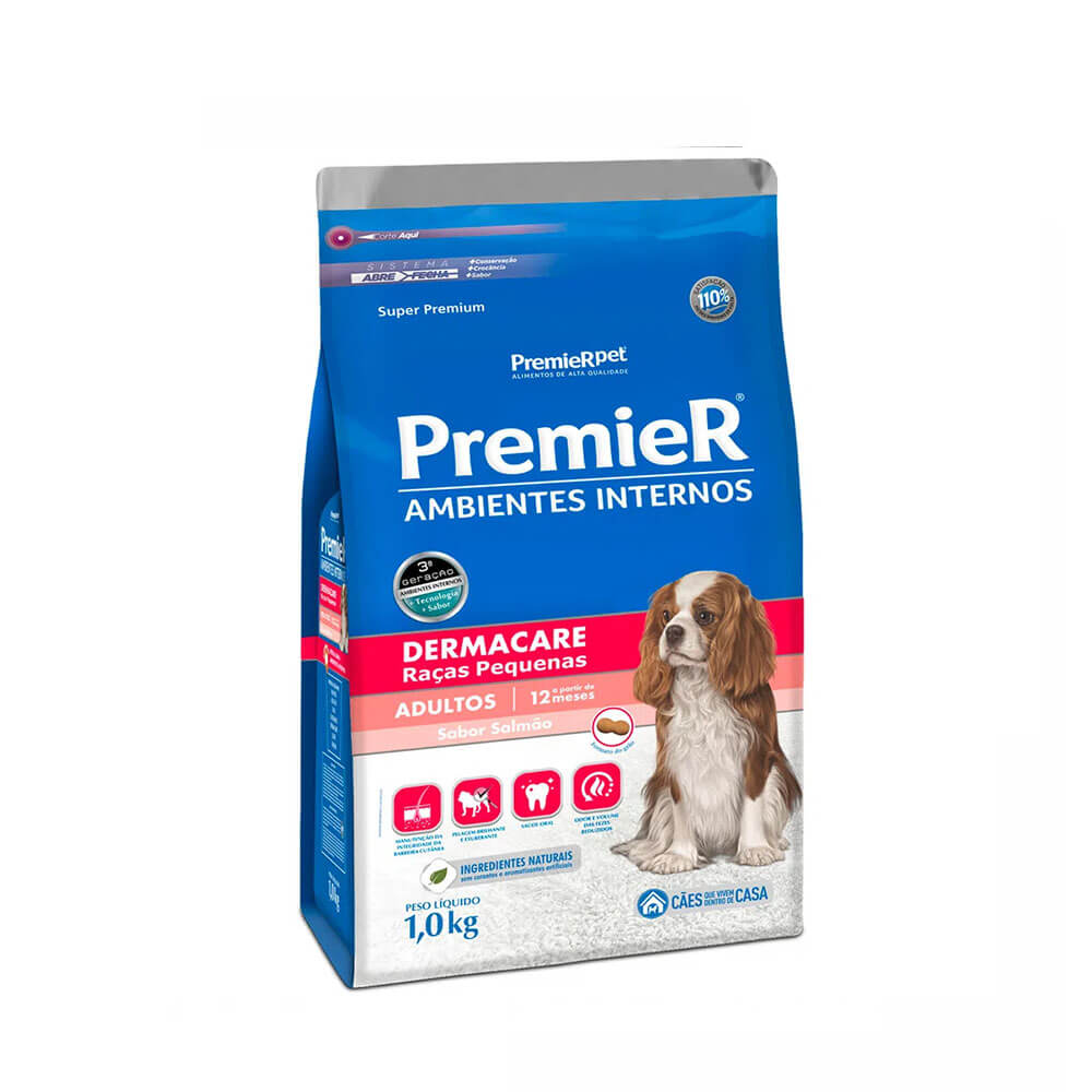 Ração Premier Ambientes Internos Cães Adultos Dermacare sabor Salmão 1kg