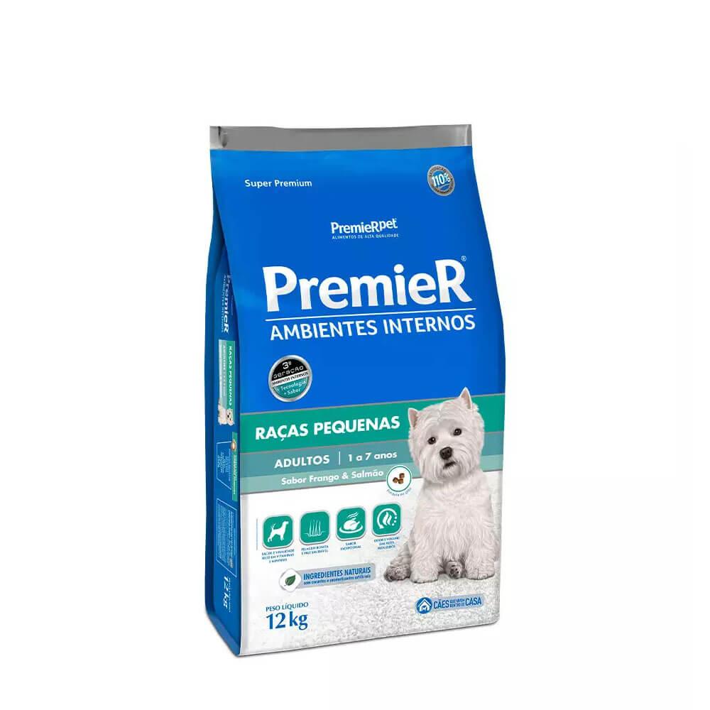 Ração Premier Ambientes Internos Cães Adultos Frango e Salmão 12kg