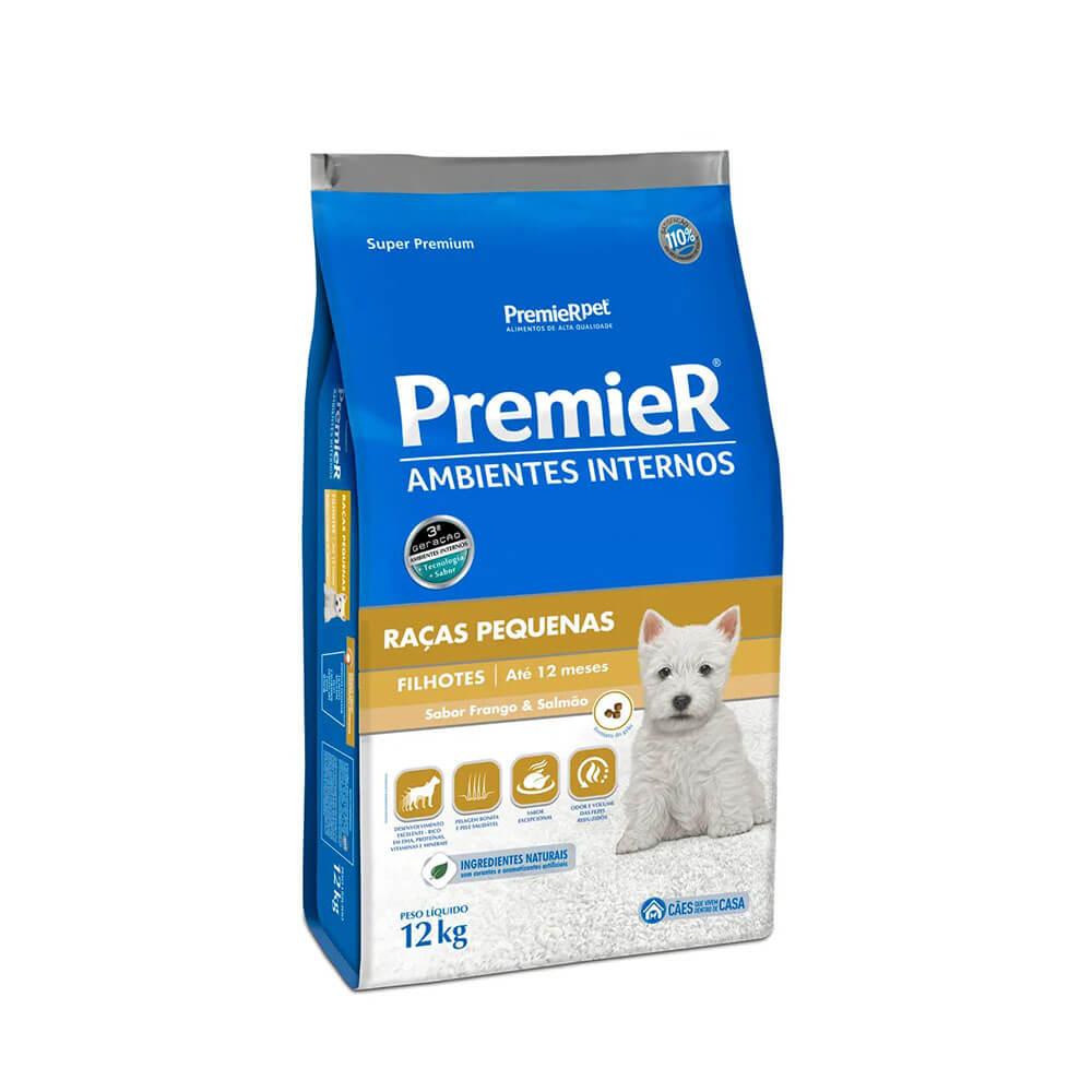 Ração Premier Ambientes Internos Cães Filhotes Frango e Salmão 12kg