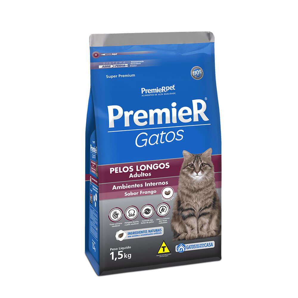 Ração Premier Ambientes Internos Gatos Adultos Pelos Longos Frango 1,5kg