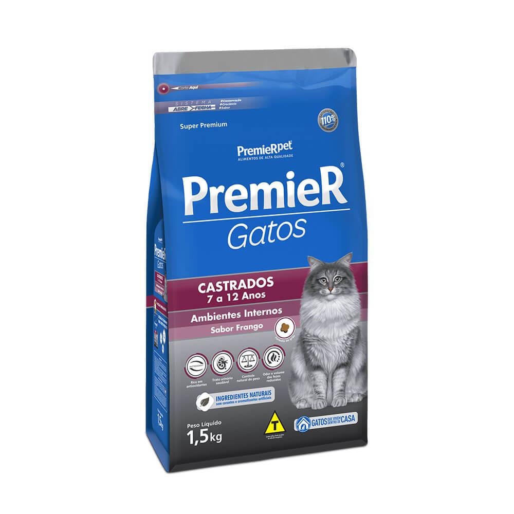 Ração Premier Ambientes Internos Gatos Castrados de 7 a 12 Anos Frango 1,5kg