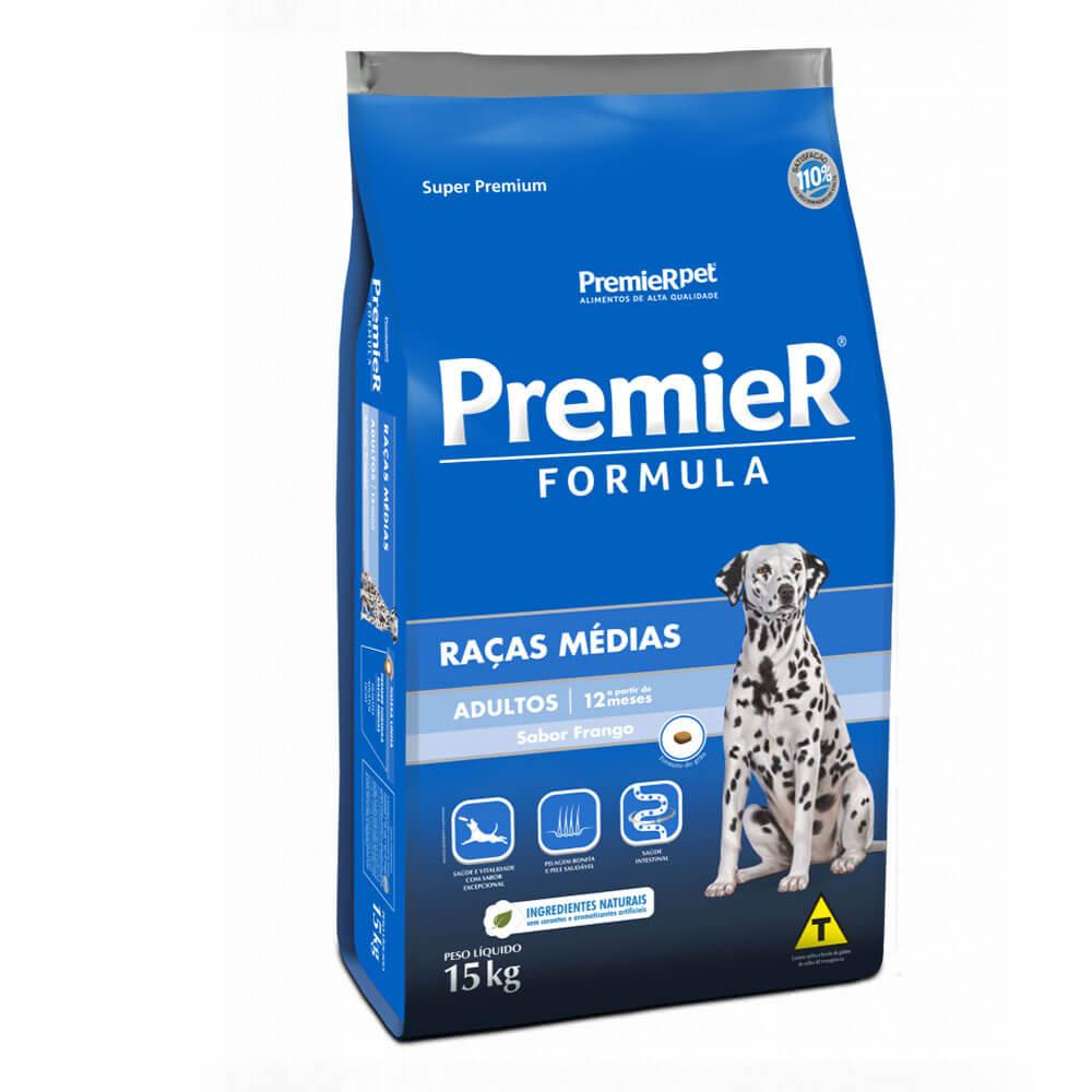 Ração Premier Formula Raças Médias Cães Adultos a partir 12 meses Frango 15kg