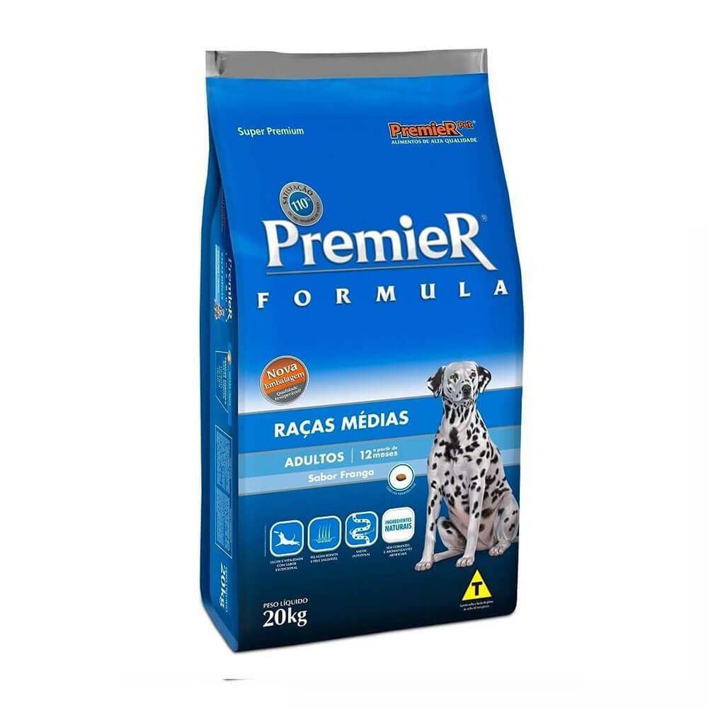 Ração Premier Formula Raças Médias Cães Adultos a partir 12 meses Frango 20kg
