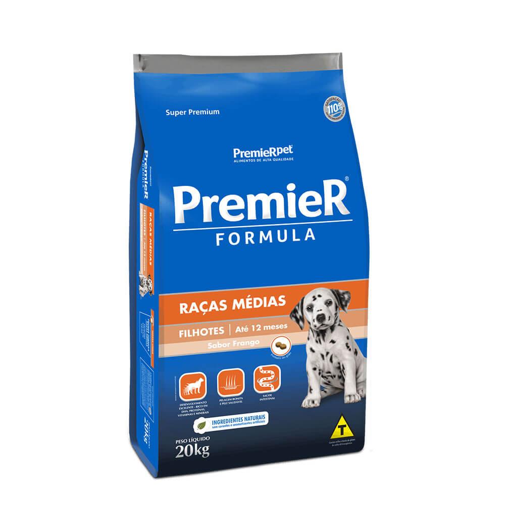 Ração Premier Formula Raças Médias Cães Filhotes até 12 meses Frango 20kg