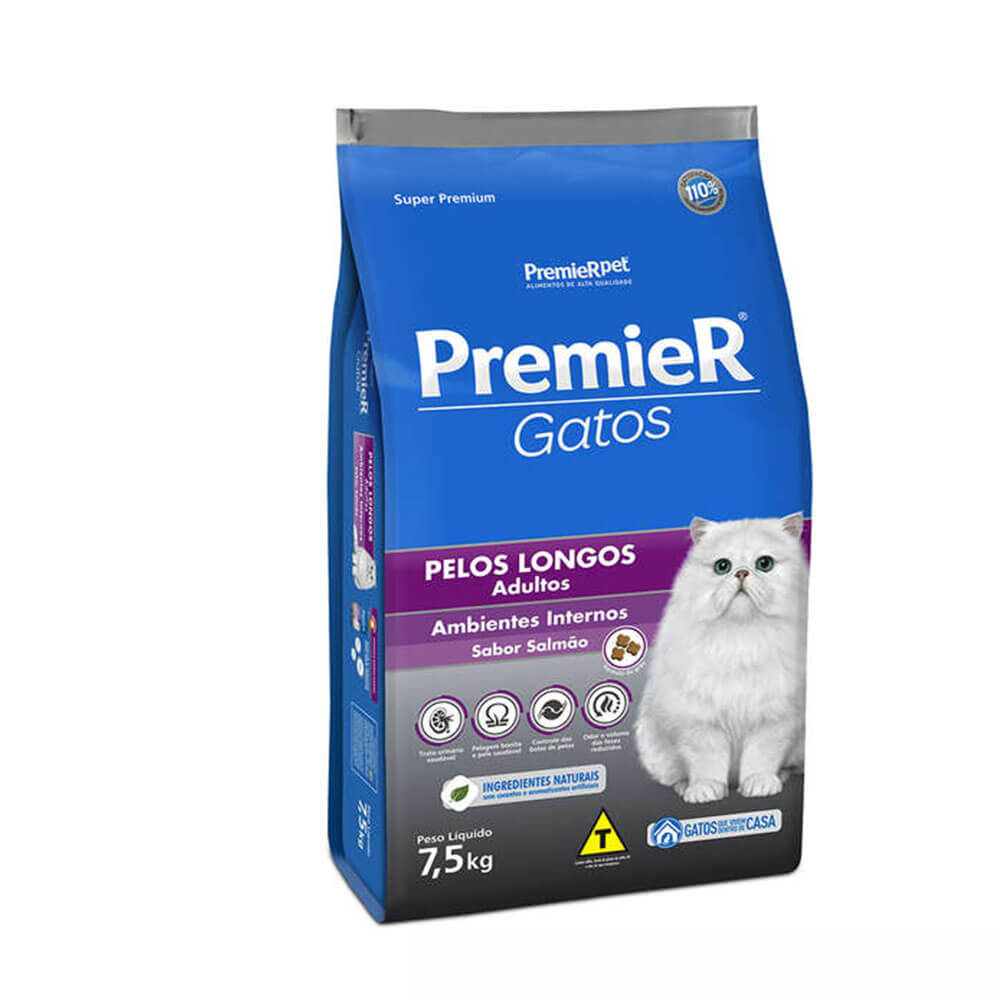 Ração Premier Gatos Adultos Ambientes Internos Pelos Longos Salmão 7,5kg