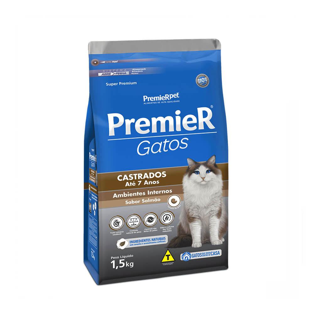 Ração Premier Gatos Castrados até 7 anos Ambientes Internos Salmão 1,5kg
