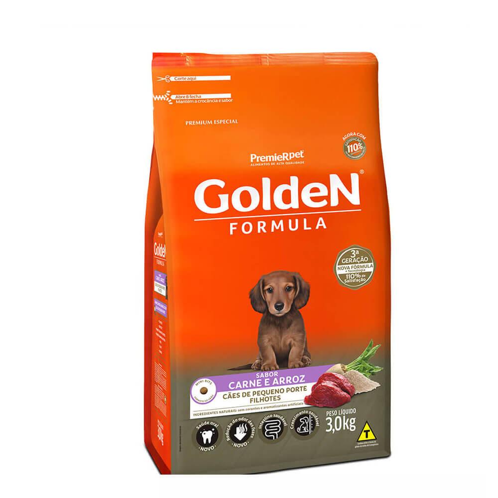 Ração Premier Golden Formula Cães de Pequeno Porte Filhotes Carne e Arroz 3kg