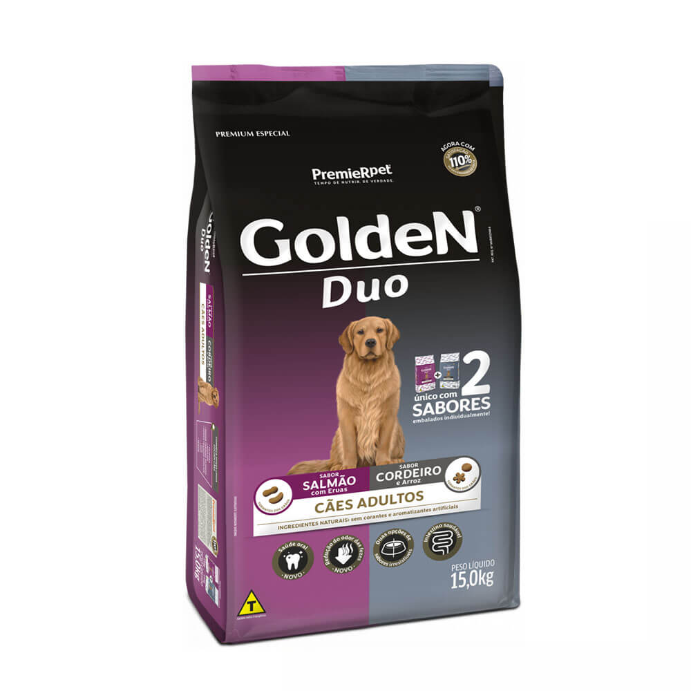 Ração Premier Golden Formula Duo Cães Adultos Salmão com Ervas e Cordeiro e Arroz 15kg