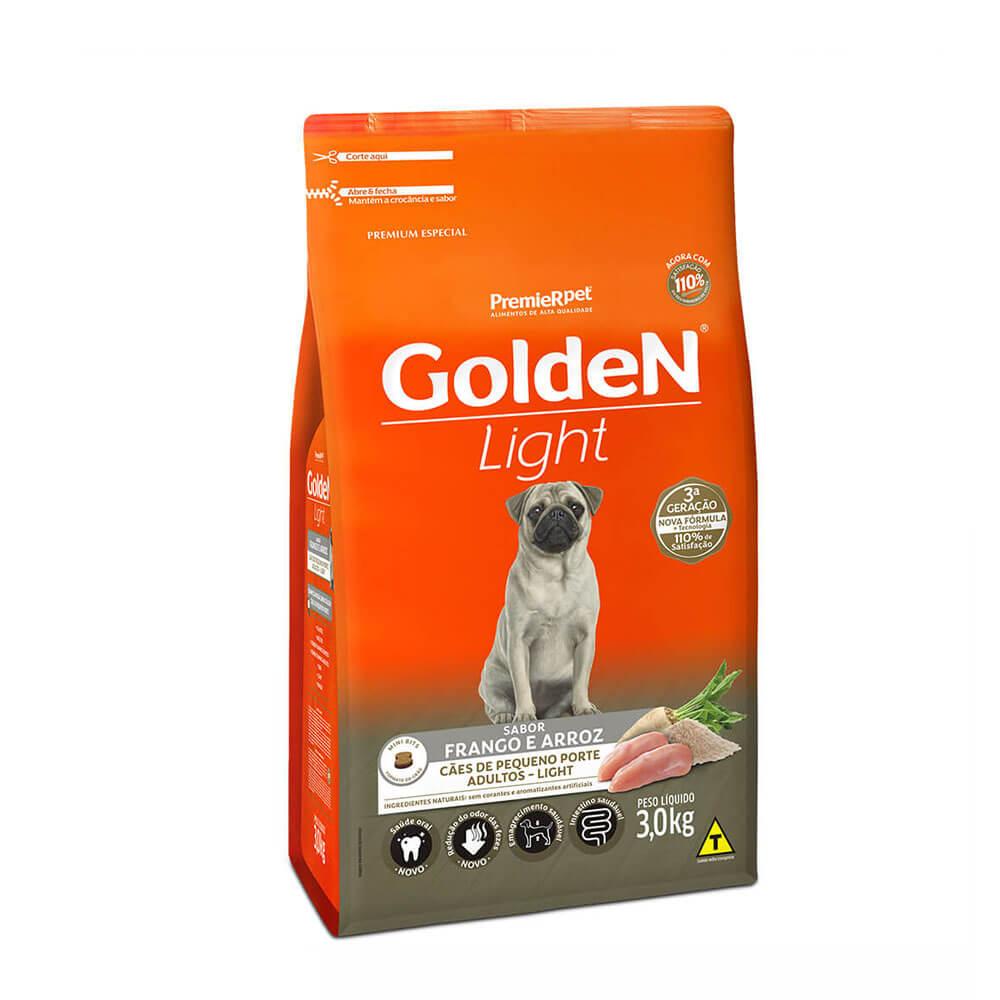 Ração Premier Golden Formula Light Cães Pequeno Porte Adultos Frango e Arroz 3kg