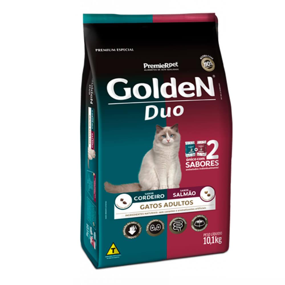 Ração Premier Golden Gatos Adultos Duo Cordeiro e Salmão 10,1kg
