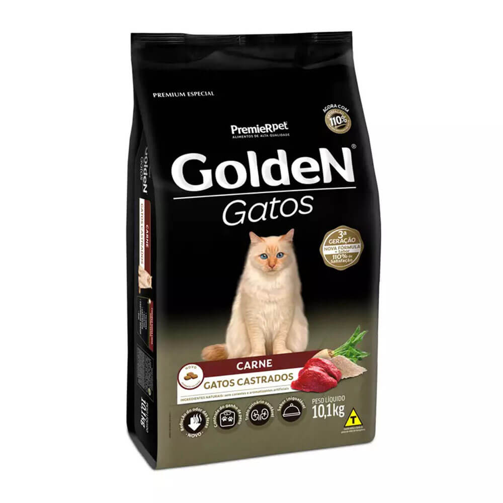 Ração Premier Golden Gatos Castrados Carne 10,1kg
