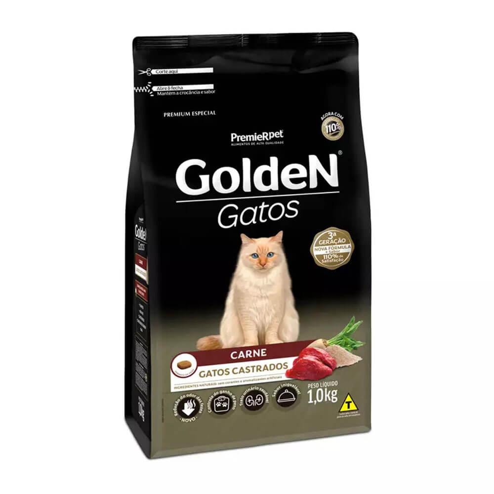 Ração Premier Golden Gatos Castrados Carne 1kg