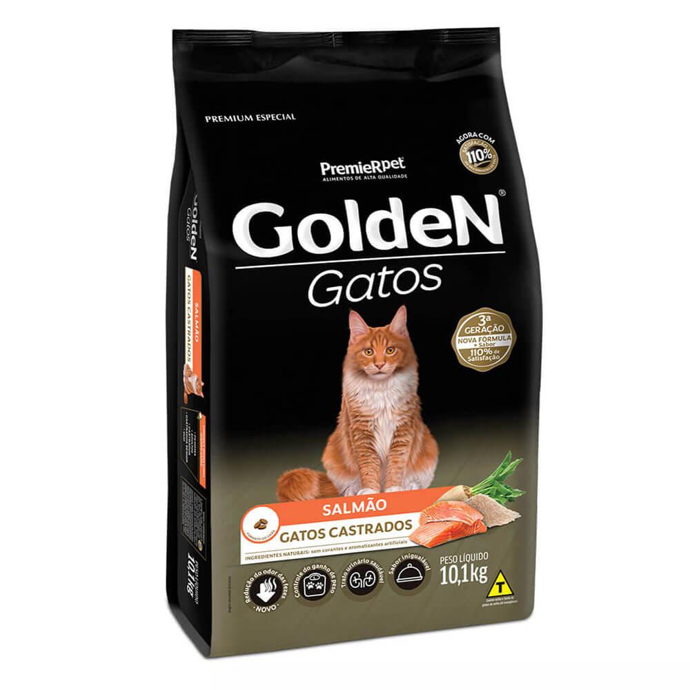 Ração Premier Golden Gatos Castrados Salmão 10,1kg