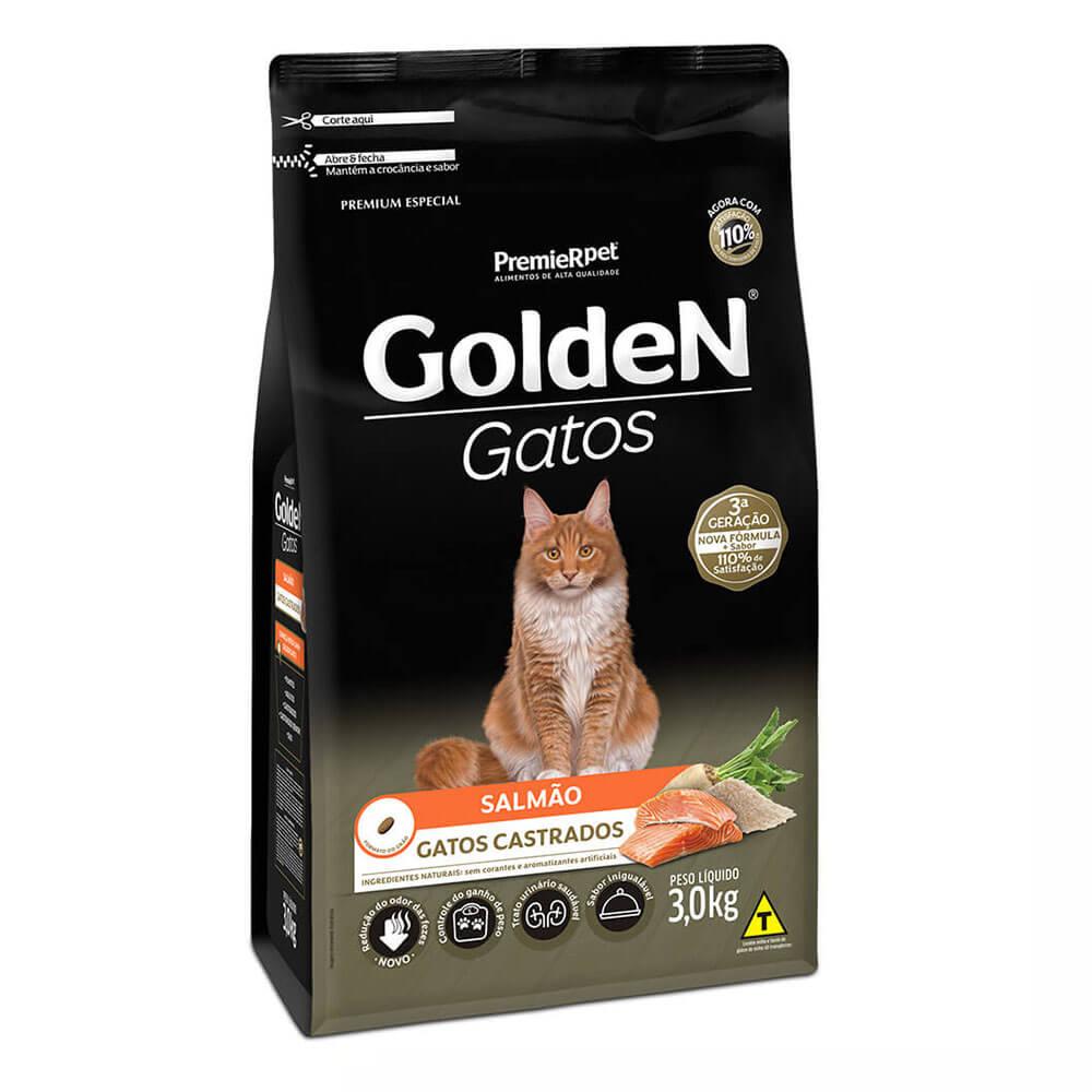 Ração Premier Golden Gatos Castrados Salmão 3kg