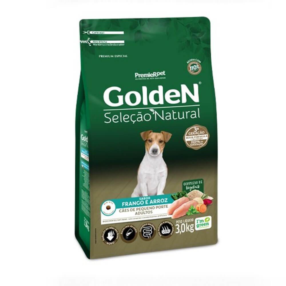 Ração Premier  Golden Seleção Natural Cães Adultos de Pequeno Porte sabor Frango e Arroz 3kg