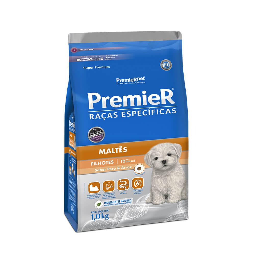 Ração Premier Maltês Cães Filhotes sabor Peru e Arroz 1kg