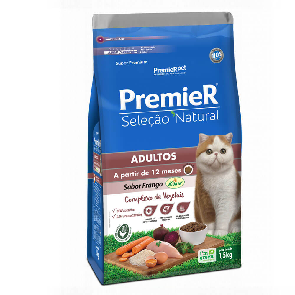 Ração Premier Seleção Natural Gatos Adultos a partir de 12 meses Frango Korin 1,5kg