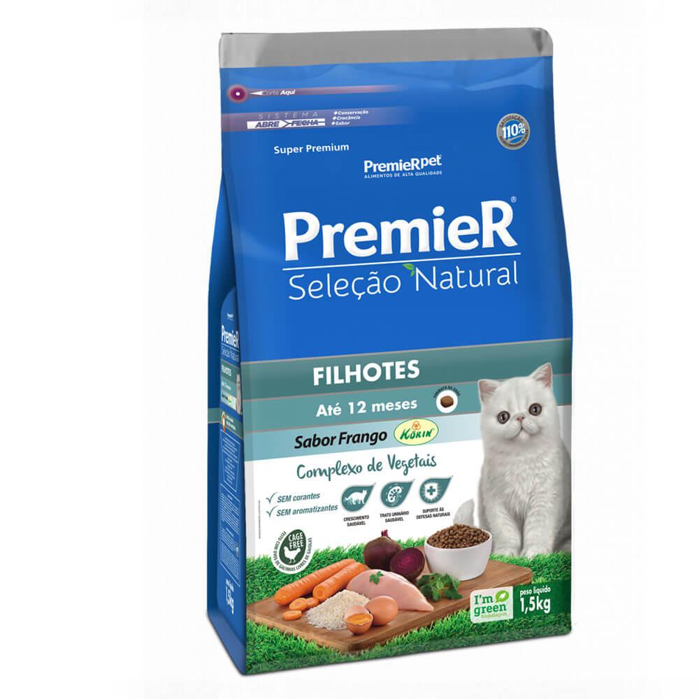 Ração Premier Seleção Natural Gatos Filhotes até 12 meses Frango Korin 1,5kg