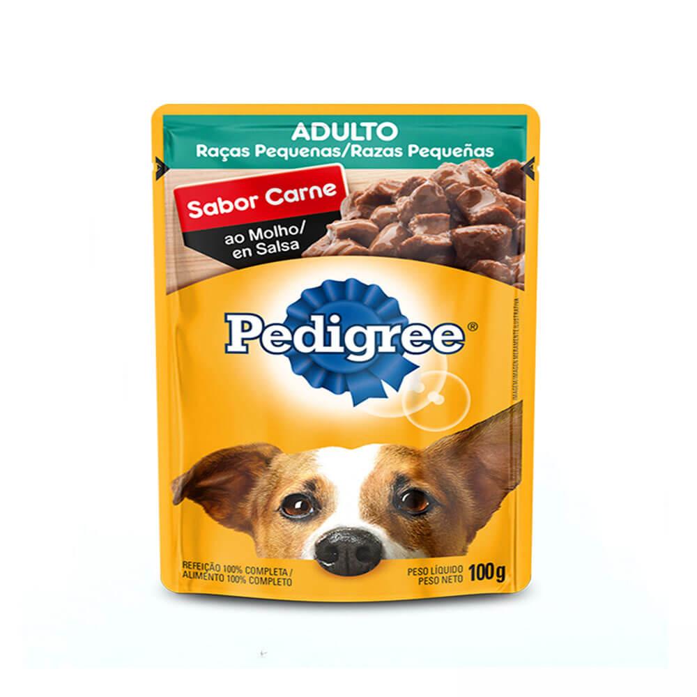 Ração Úmida Cães Adultos Raças Pequenas Sachê sabor Carne ao Molho 100g