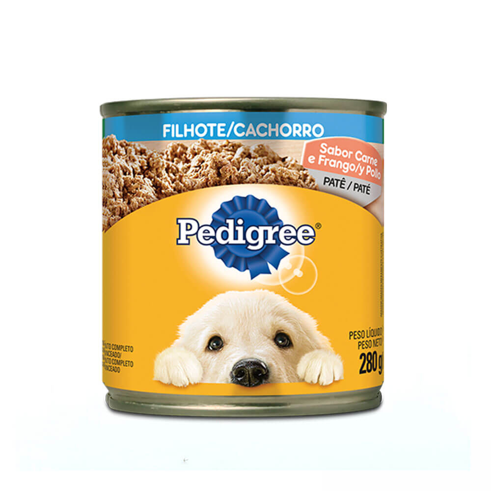 Ração Úmida para Cães Filhotes Pedigree Lata Patê Carne e Frango 280g