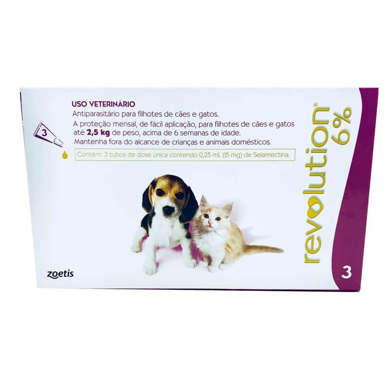Revolution 6 Antiparasitário Cães e Gatos até 2,5 kg Zoetis 3 Ampolas