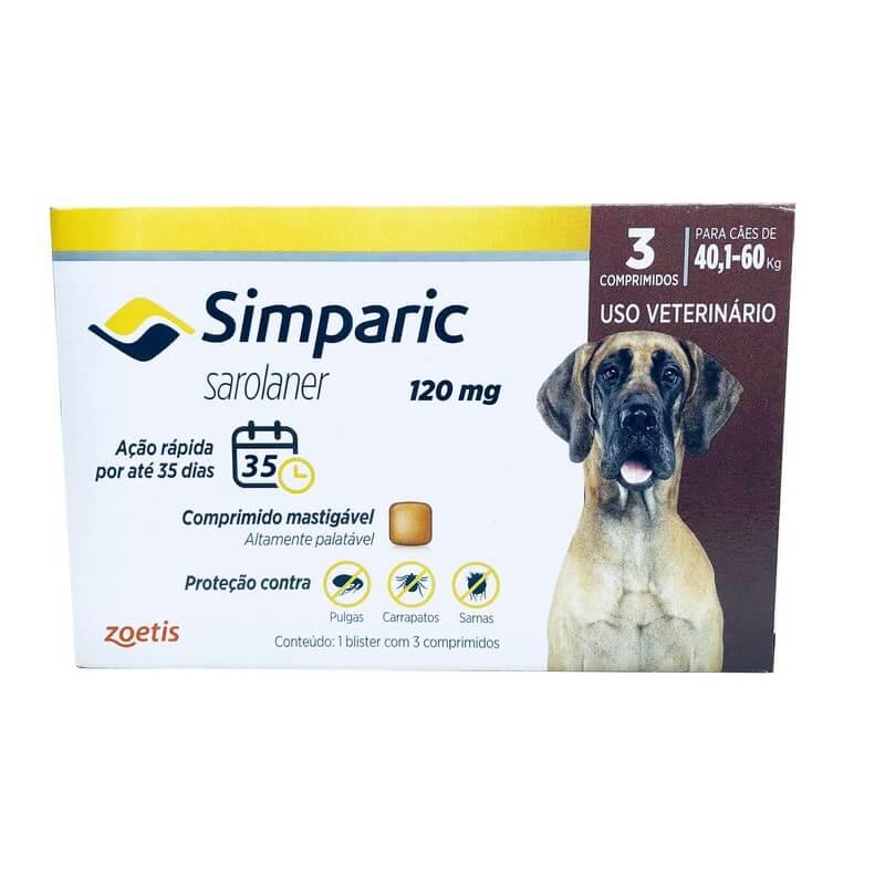 Simparic Antipulga e Carrapato Comprimido 120mg Cães 40,1 a 60kg 3 Comprimidos