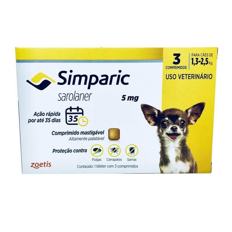 Simparic Antipulgas e Carrapatos 5 mg Cães 1,3 a 2,5 kg 3 Comprimidos