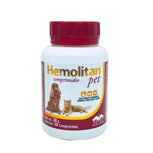 Suplemento Hemolitan Pet para Cães e Gatos Vetnil 30 Comprimidos