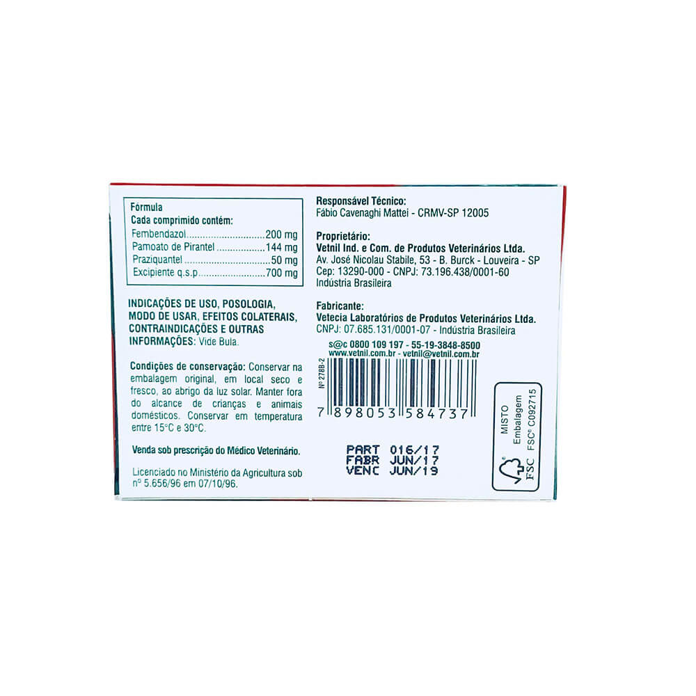 Vermífugo Vetmax Plus Vetnil 700 mg 4 comprimidos