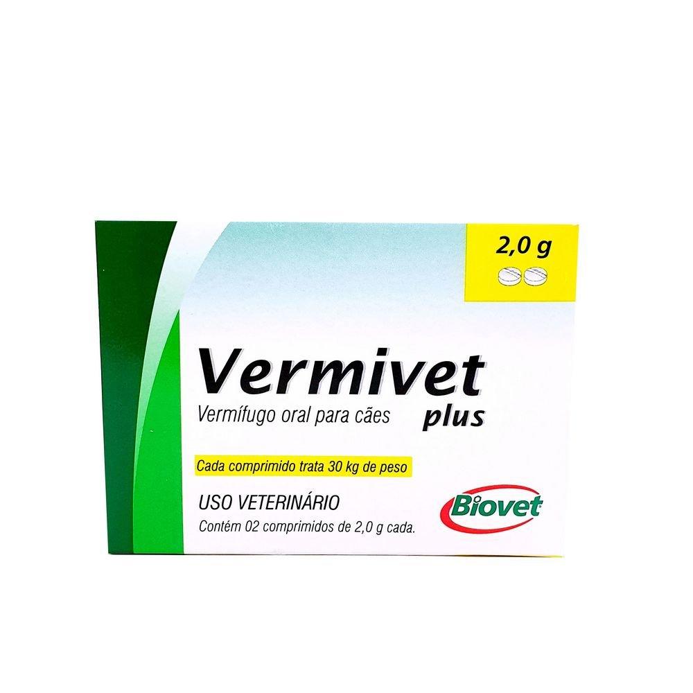 Vermivet Plus 2g Vermífugo Biovet 2 Comprimidos