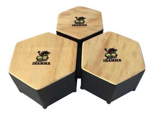 Bongô Cajon Triplo Hexagonal De Madeira Jhamma