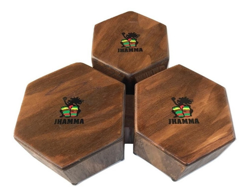 Bongô Cajon Triplo Jhamma Percussões Rustic
