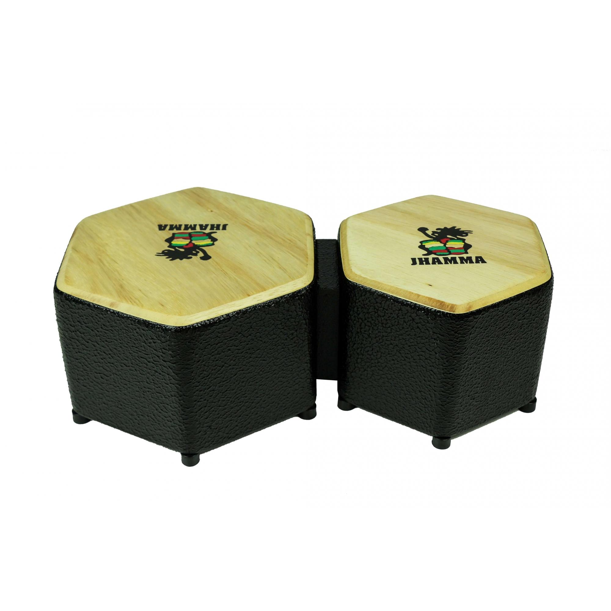 Bongô Hexagonal + Bag de Transporte Jhamma Percussões Black