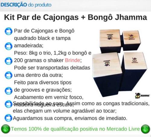 Cajon Congas Par + Bongô Quadrado Jhamma