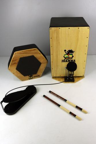 Kit Bateria Acústica Cajón, Caixa, Pedal e Baquetas