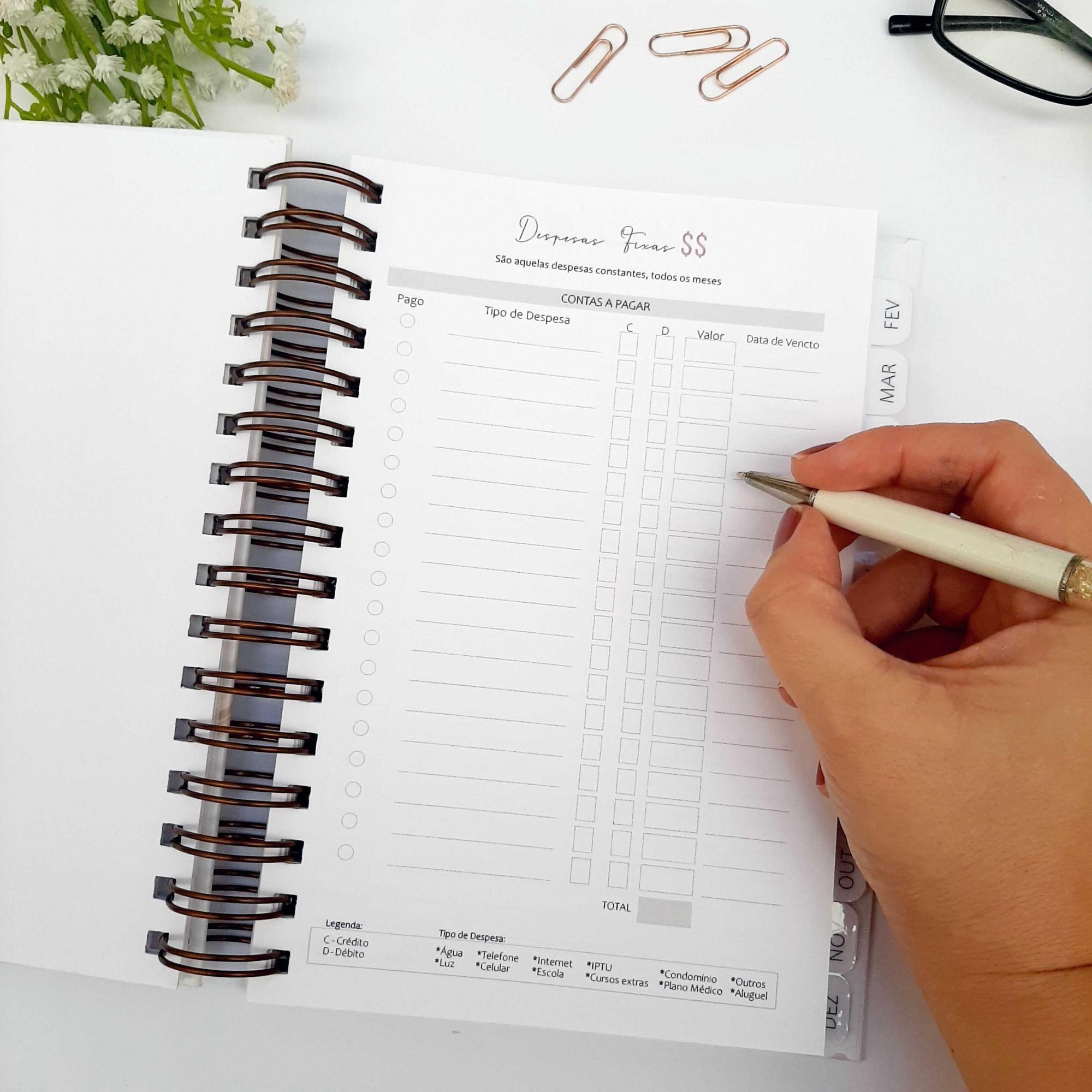 Planner Financeiro Cinza