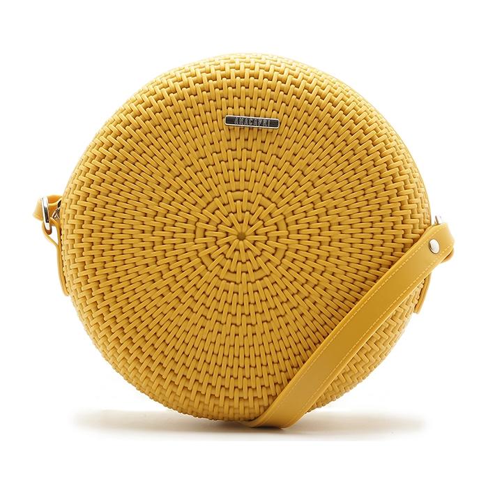 Bolsa Crossbody Redonda Tramada Anacapri - Amarela