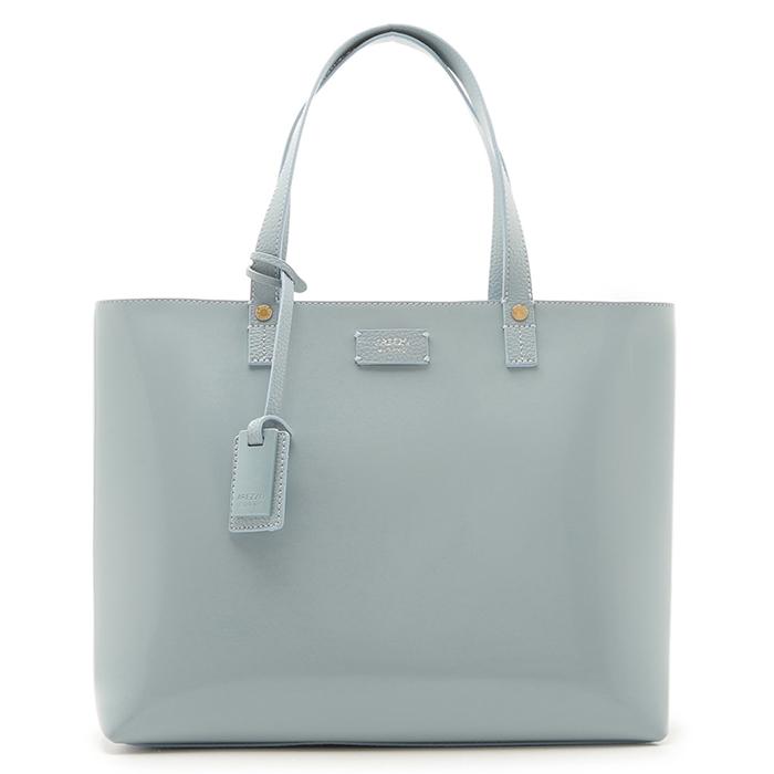 Bolsa Shopping Verniz Perla Grande Arezzo - Soft Blue