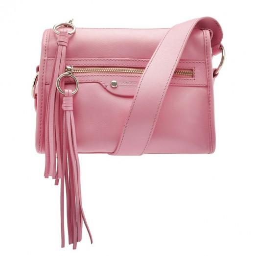 Bolsa Tiracolo Couro Adriana Pequena Arezzo - Baby Pink