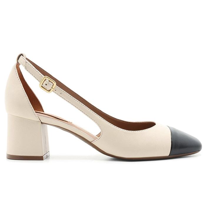 Chanel Couro Salto Bloco Bico Fino Vazado Cap Toe Arezzo - Off White