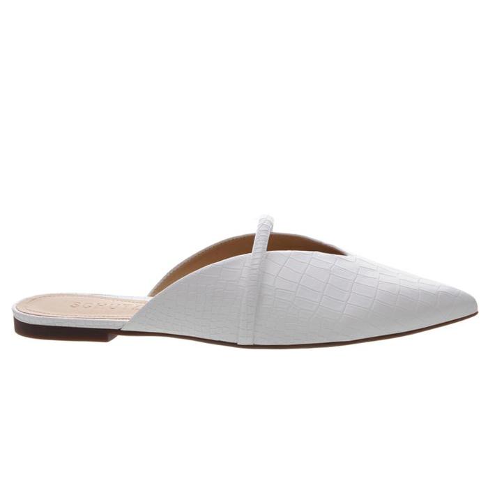 Flat Mule Croco Schutz - White