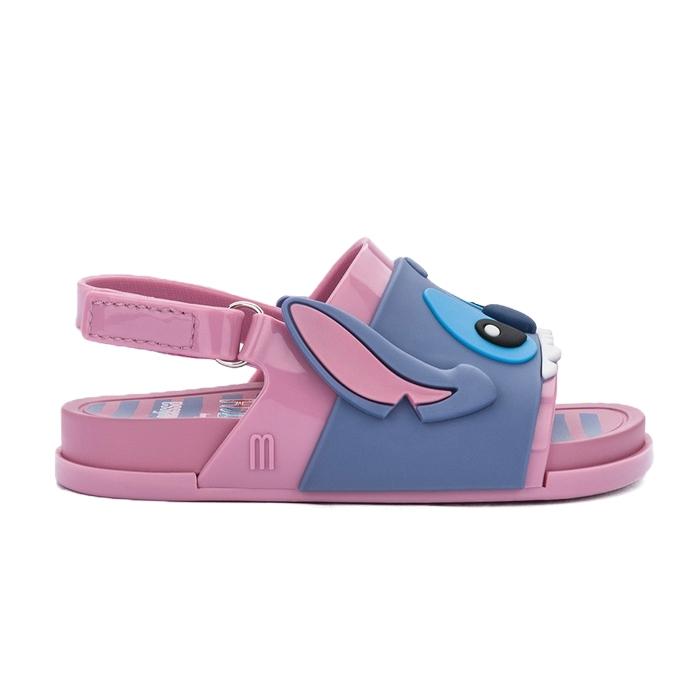 Mini Melissa Beach Slide Sandal + Stitch - Rosa/Azul