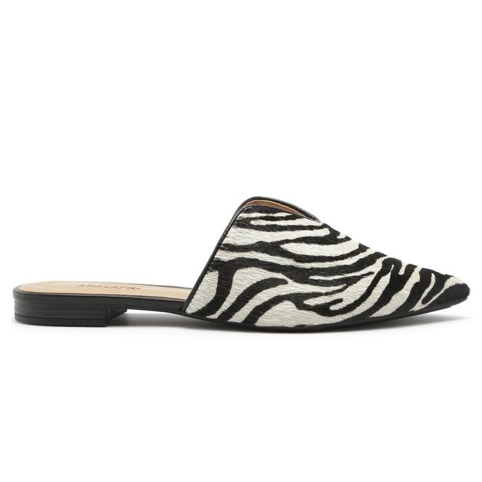 Mule Bico Fino Recorte Anacapri - Zebra
