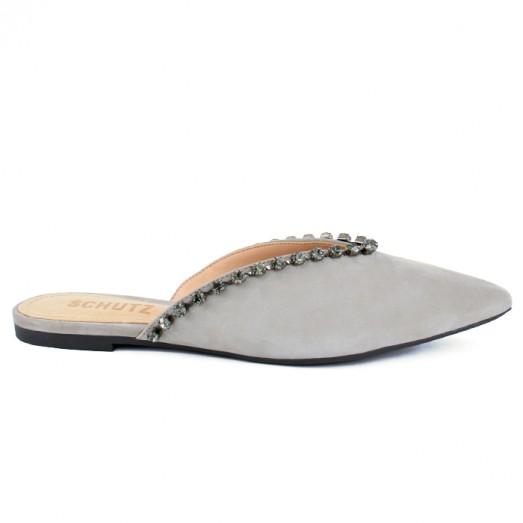 Mule Flat Glam Schutz - Cinza